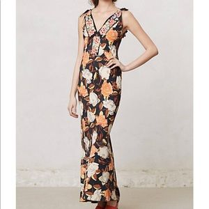 Burning Tourches Floral Embroidered Long Dress